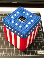 Tissue Box Cover Handmade America Themed red white and blue Yarn