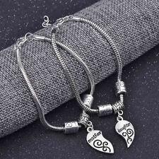 2Pcs Matching Heart Mother Daughter Bracelets Bangles Pendant Jewelry Set Flower