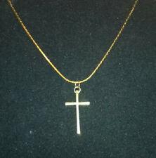 zarte Halskette mit Kreuz-Anhänger Gold-Farben, Kruzifix, Damen, Herren