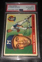 Warren Spahn 1955 Topps Signed PSA Gem MINT 10 Autographed Braves Rare 31