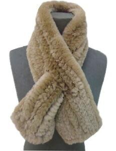 Winter Fur Scarf Real Rex Rabbit Fur Neckerchief Handmade Fluffy Soft L'88cm