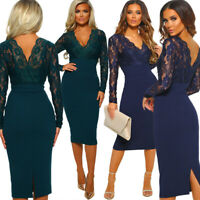 New Women Lace V-neck Long Sleeve Bodycon Evening Cocktail Party Mini Dress Prom