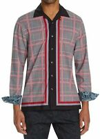 Tallia Sport Mens Shirt Red Black Size Medium M Button Down Houndstooth $88 146