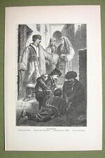 BULGARIA Costume of Christians Mohammedans Muslims - 1880s Antique Print