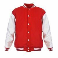 SCARLET Red Pure Wool Varsity Letterman Bomber Jacket* White Pure Leather Sleeve