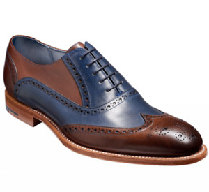 Handmade Men's Brown & Blue Leather Embroidered Laceup Oxford Shoes