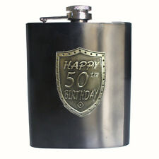 20280 50th BIRTHDAY GUNMETAL GREY 150ml HIP FLASK SHIELD BADGE GIFT BOX FIFTIETH