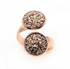 ROSE GOLD SPARKLING DRUZY RESIN BROWN/GOLD DOUBLE WRAP RING 12MM