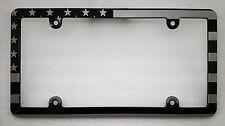 AMERICAN FLAG, HMC Billet License Plate Frame, Black Anodized,Slim Line