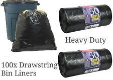 100 SUPER STRONG BLACK REFUSE SACKS DRAWSTRING RUBBISH BAG BIN LINERS DRAWSTRING