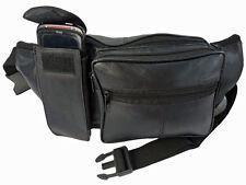 Bumbags Extra Grande De Cuero Negro Suave Cuero Riñonera hasta 50 pulgadas de tamaño de la cintura