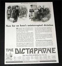 1918 OLD MAGAZINE PRINT AD, DICTAPHONE CO, NOW FOR AN HOUR OF DICTATION, ART!