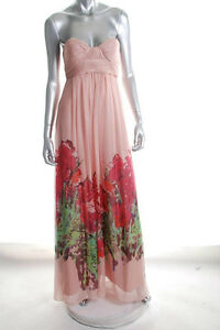 AQUA ~ Pink Glimmer Floral Sweetheart Strapless A-Line Formal Gown 4 NEW $268