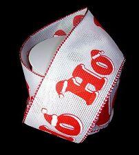 "Wired Ribbon Christmas Craft White & Red Ho Ho Ho Santa Hat 2.5"" x 8 yards"