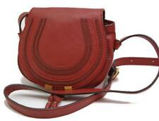 Auth Chloe Marcie Small Leather Shoulder Bag Crossbody Satchel Mini Red 0115a