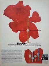 1963 Bulova Watch Red Flower Rose Dewdrop Gold Original Print Ad