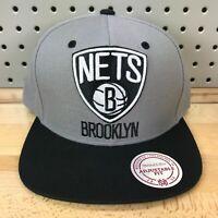 Brooklyn Nets NBA Basketball Mitchell & Ness SnapBack Hat EUC Grey Cap NICE!