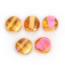 10PCS 14mm Faceted Glass Crystal Round Flat Spacer Loose Beads Jewelry Design