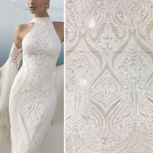 Embroidery Bridal Evening Dress Lace Fabric Floral Sequin Bling Costume Tulle 1Y