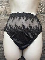 Vintage 90's Wacoal Panties Size Small Black Semi Sheer 100% Nylon USA Made Lace