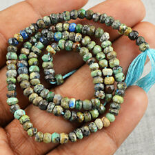32.00 Cts / 13 Inches Natural Untreated Drilled Azurite Faceted Beads Strand