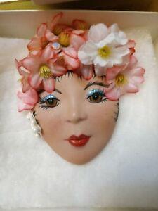 "Vintage LADY HEAD FACE PIN Brooch Porcelain 2"""