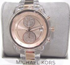 Michael Kors Briar Lady's Rose Gold Clear Acrylic Crystal Watch MK6499 NWT $275