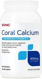 GNC Coral Calcium Magnesium & Vitamin D-3 400mg 180 Capsules
