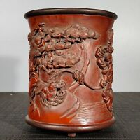 Exquisite carved liu hai play spittor pine trees statue bamboo Pen Brush pot