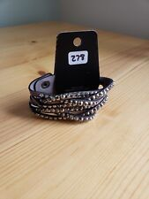 Paparazzi Bracelet(new)BLACK W/ GRAY GEMS 278