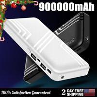 Portable Power Bank 900000mAh Fast Charging External 2USB Backup Battery Charger
