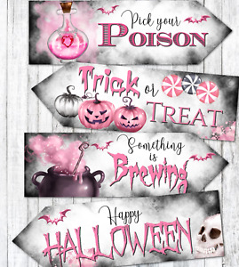 Set of 4 Pink Halloween Party Decoration Arrow Signs