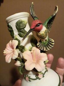 Vintage hummingbird ceramic candle holder, Mann