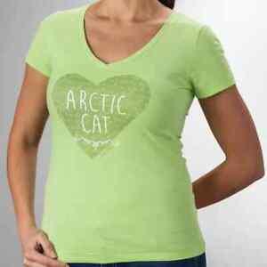 New Arctic Cat Women's Heart V-Neck T-Shirt ~ Lime~ M~ # 5263-822