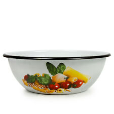 White Enameled Bowl / Basin with Food Decal. Deep Plate Salad Bowl 4 L