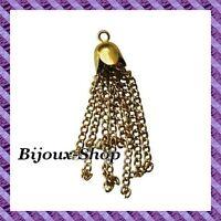 10 Pompons chaîne Métal (doré)