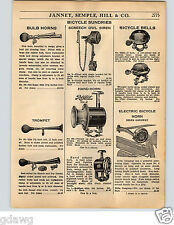 1936 PAPER AD Bicycle Horn Bulb Screech Owl Siren Rollfast Hand Delta Gangway