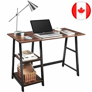 Computer Desk, QooWare 110cm Writing Desk with 2 Storage Shelves on Left or Righ