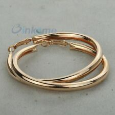 18K Gold plated thick tube big hoop snap Earring diameter 6inch 0411