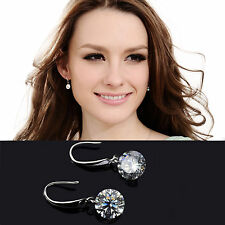 Crystal 925 Sterling Silver Plated Huggie Hoop Dangle Drop Diamond Earrings