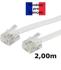 DITM® Cordon Téléphone ou ADSL RJ11 mâle vers RJ 11 mâle - blanc - 2,00 m