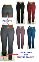 Women's Warm Winter Plush Fleece Lined Thick Thermal Pants w/Front+Back Pockets