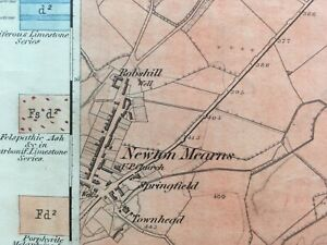 1st Edition (1869) Geological Map of Newton Mearns area. Renfrewshire Sheet 17.