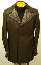 vintage 70's men's brown SEARS leather jacket coat fight club pimp 38-40 TALL