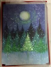 Papyrus Holiday Cards Boxed Tree Under Moon 14-Count
