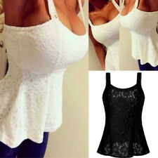 UK Fashion Women Casual Sleeveless Top Vest Blouse Ladies Summer Shirt Lace Tops