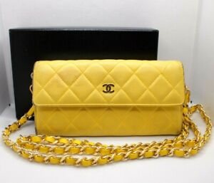 AUTHENTIC CHANEL MATELASSE WALLET ON CHAIN YELLOW SHOULDER CROSSBODY BAG PURSE