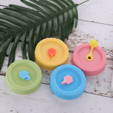 4 Color 70mm Plastic Replacement Drink Caps Lids with Straw Hole for Mason Jars