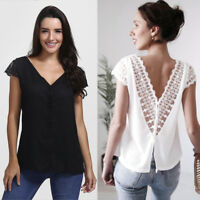 Womens Sexy Short Sleeve T-Shirt Lace Tops V Neck Chiffon Tops Backless Blouse