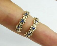 E026 Genuine 9ct Solid GOLD Natural Sapphire Half HOOP Stud Earrings Blossom